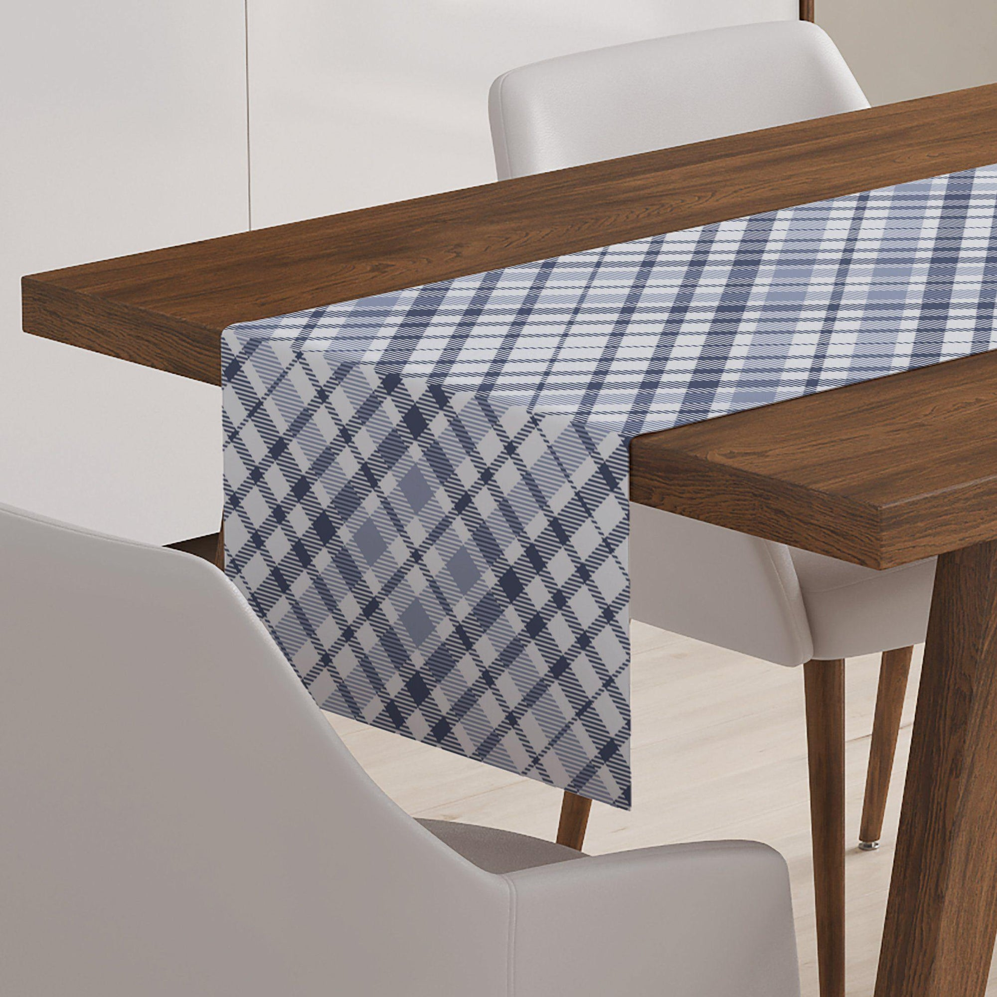 Blue and White Plaid Table Runner-W.FRANCIS