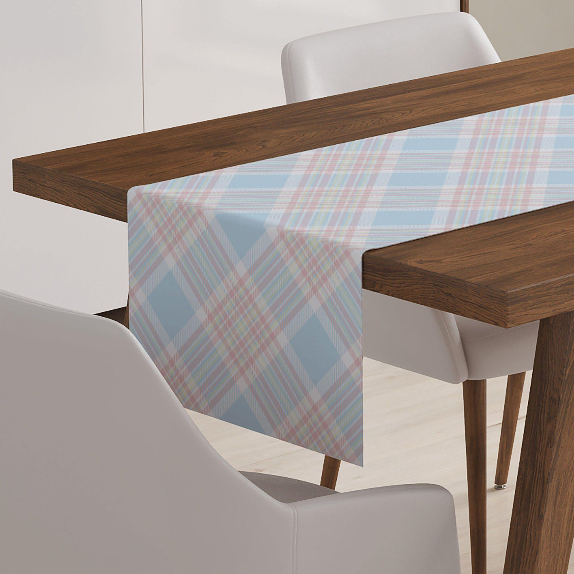 Blue Plaid Check Table Runner-W.FRANCIS