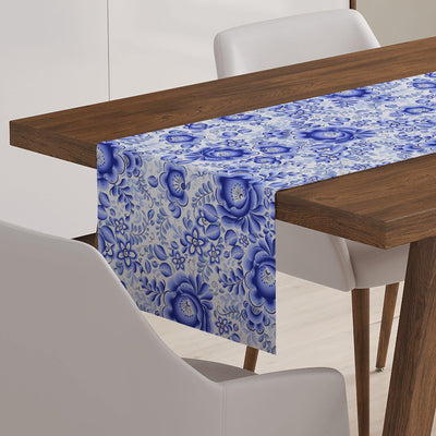 Blue & White Floral Table Runner-W.FRANCIS