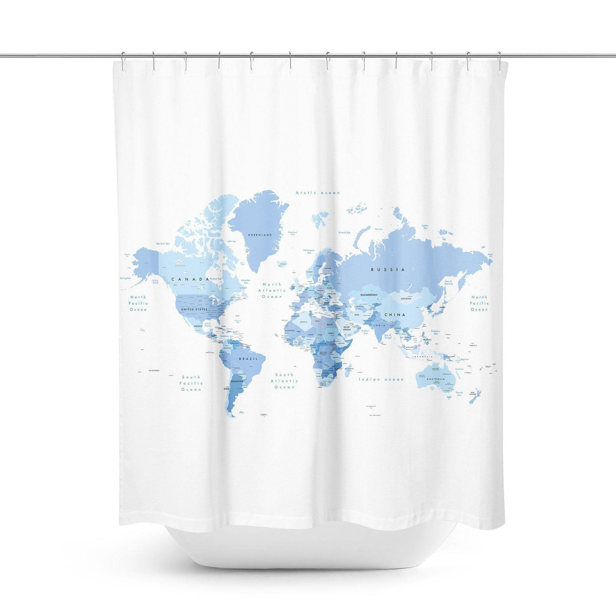 Blue World Map Shower Curtain - Shower Curtains - W.FRANCIS