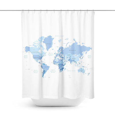 Blue World Map Shower Curtain-W.FRANCIS