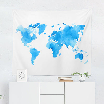 Blue World Map Tapestry - Tapestries - W.FRANCIS