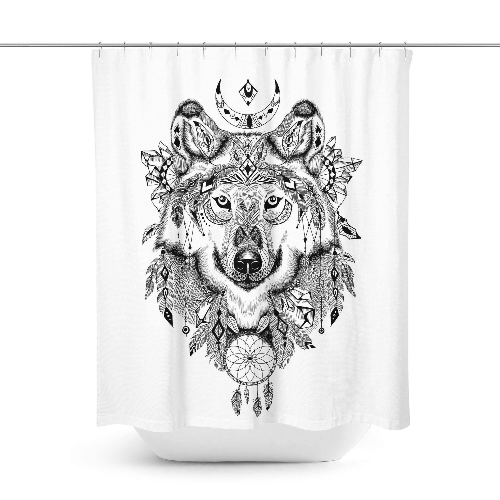 Boho Wolf Shower Curtain - Shower Curtains - W.FRANCIS