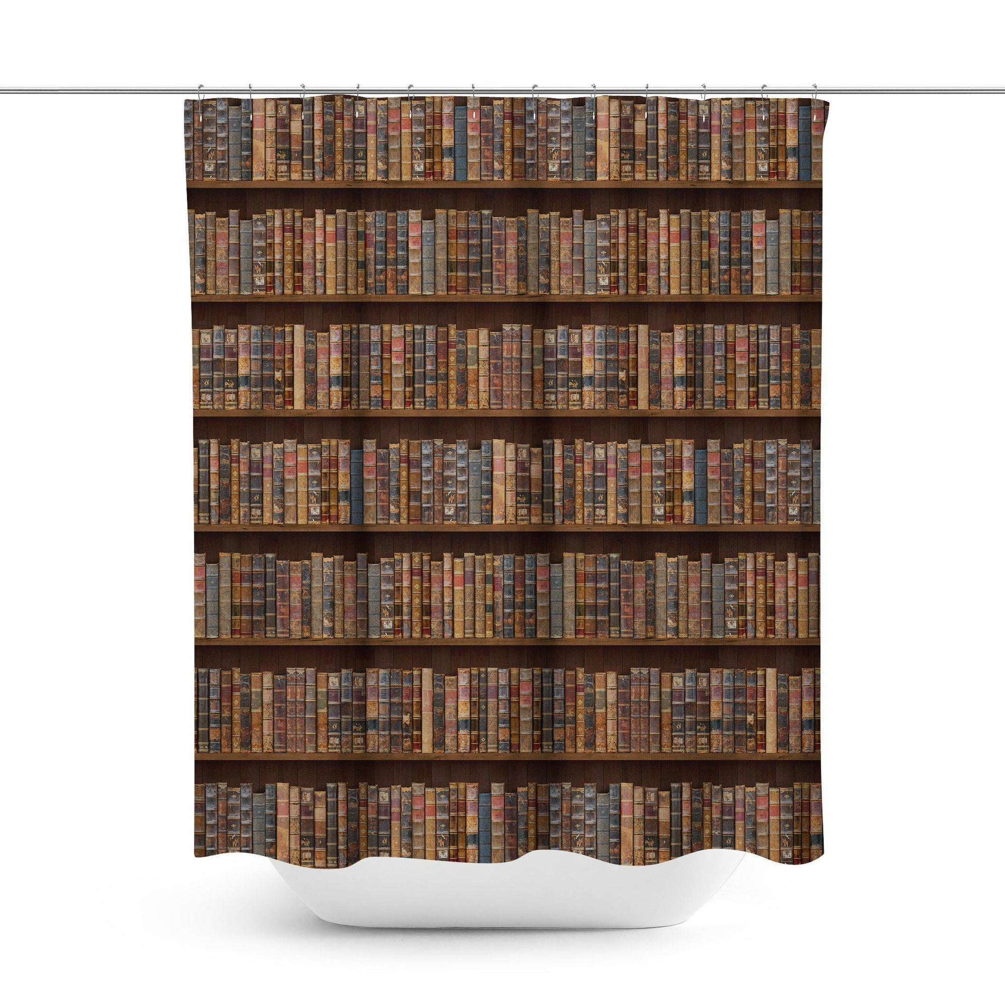 Bookcase Shower Curtain-W.FRANCIS