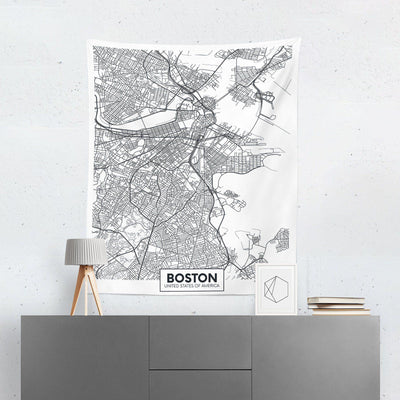 Boston Map Tapestry-W.FRANCIS