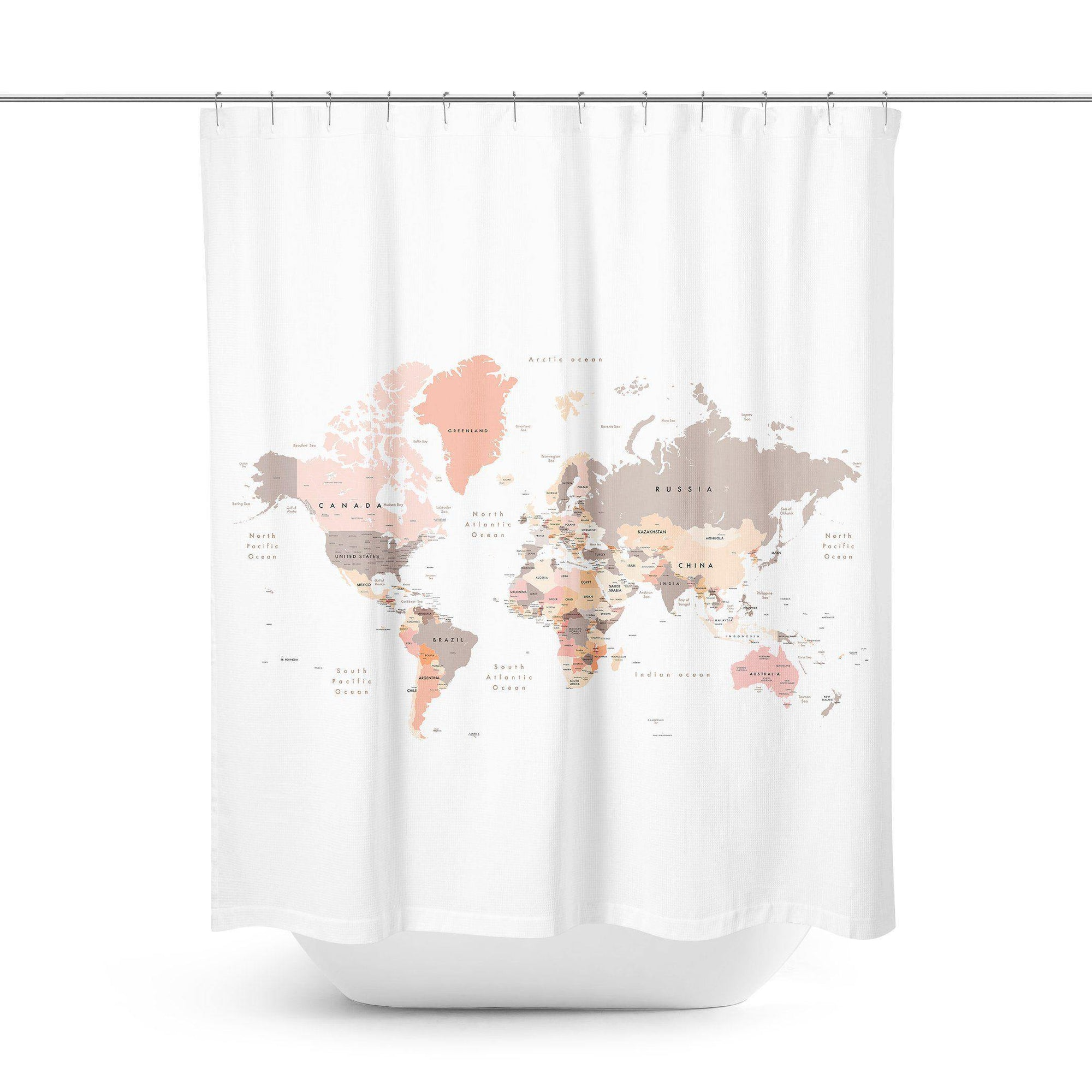 Brown World Map Shower Curtain-W.FRANCIS