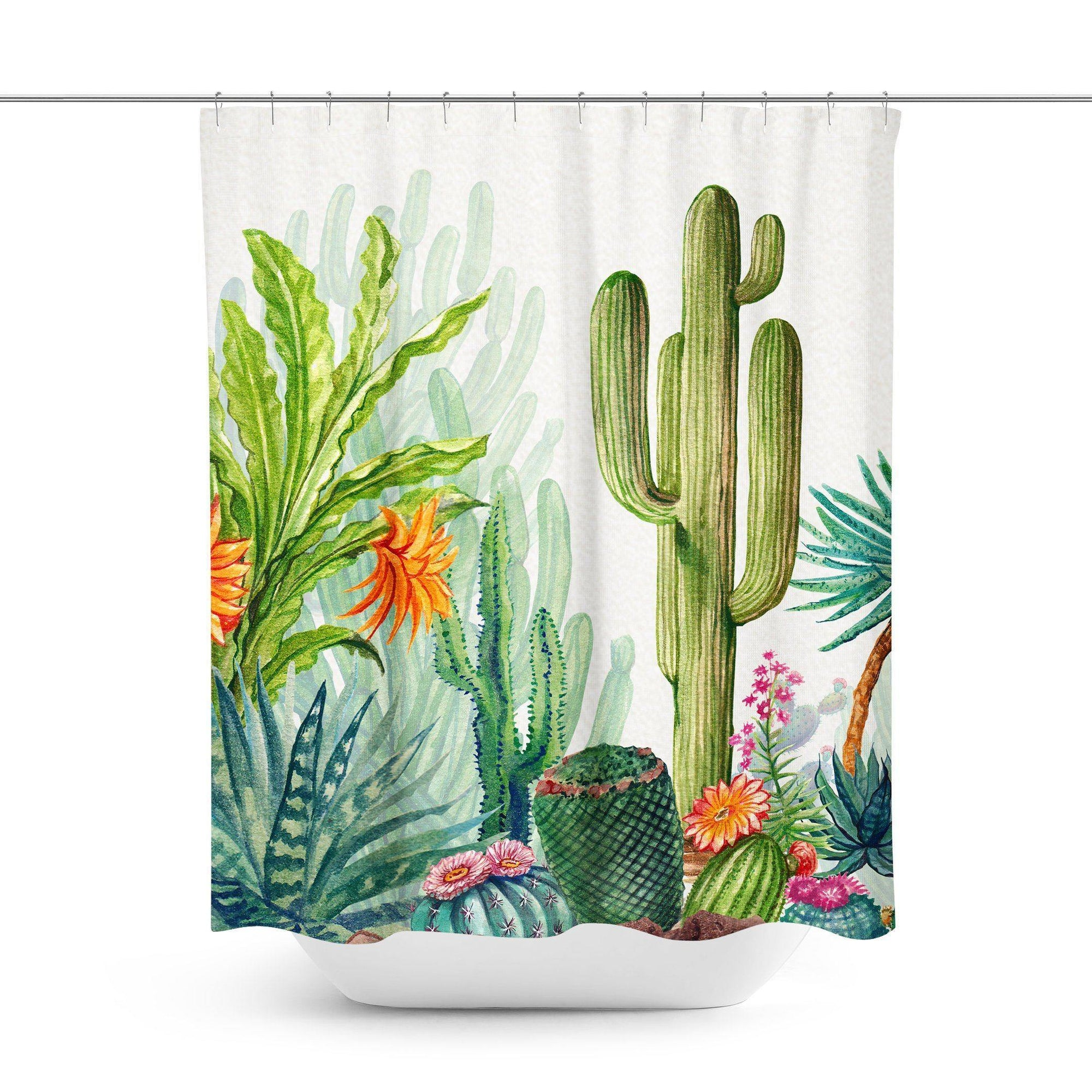 Cactus Garden Shower Curtain-W.FRANCIS