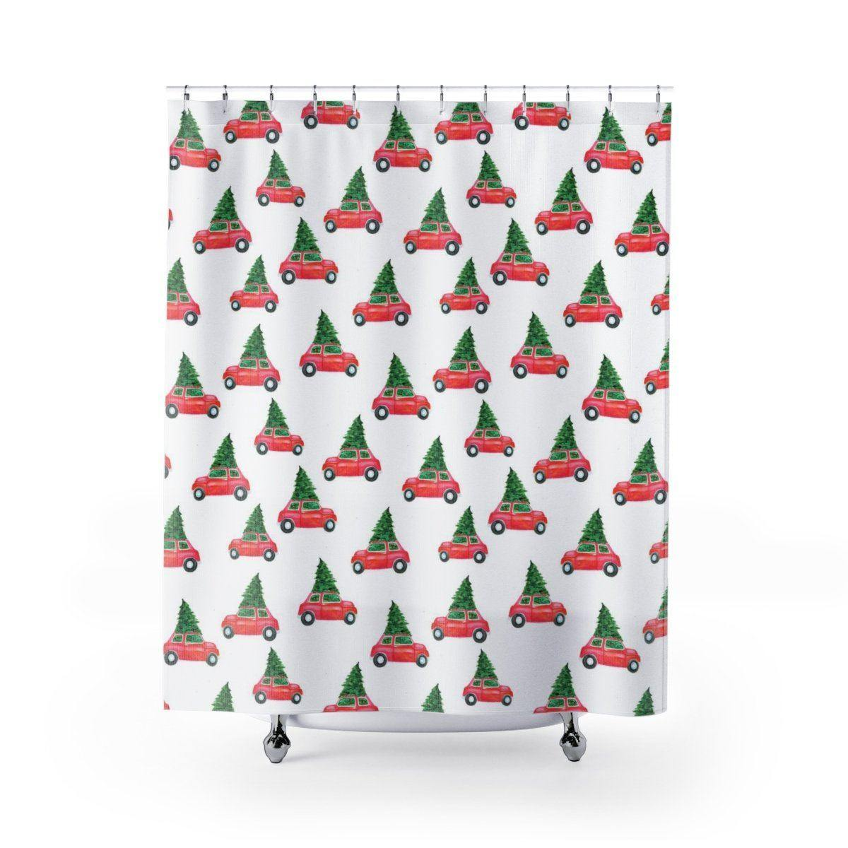 Christmas Car Pattern Shower Curtain-W.FRANCIS