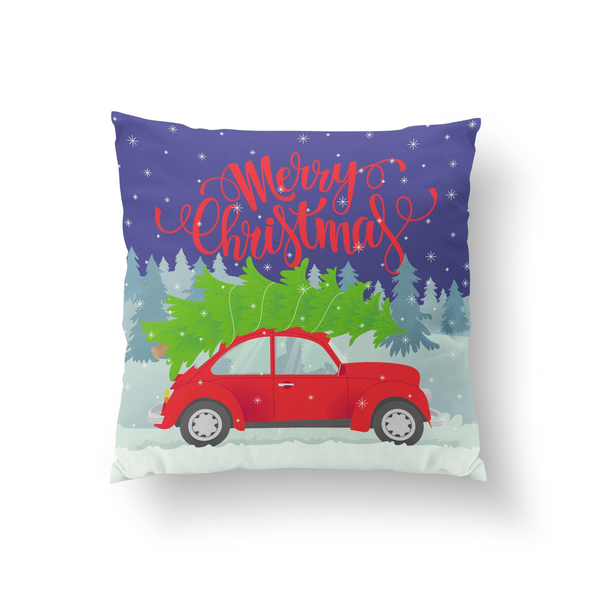 Christmas Car Pillow Cover-W.FRANCIS