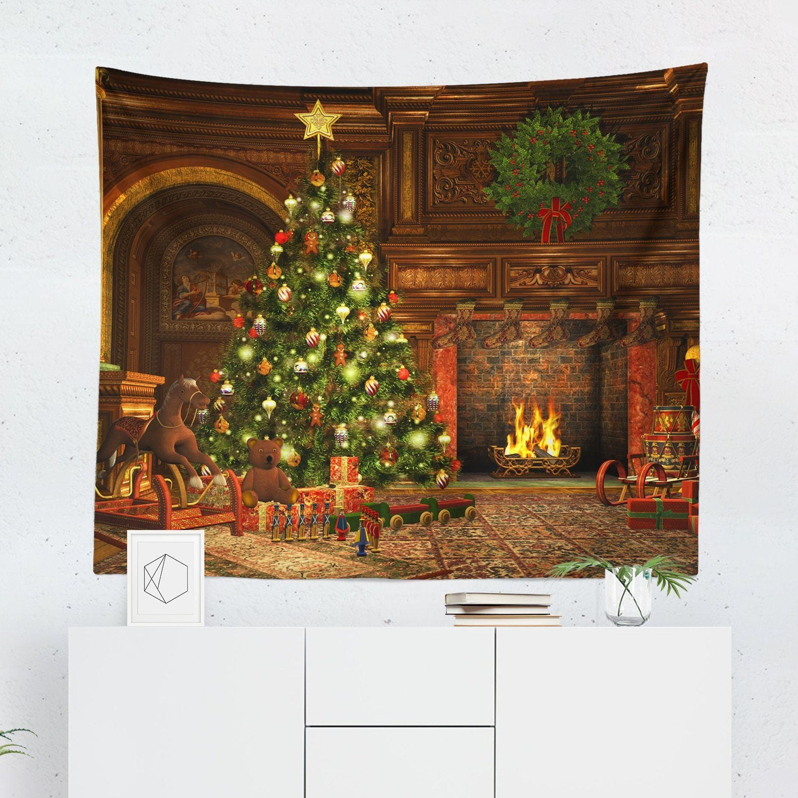 Christmas Scene Wall Tapestry | Tapestries | wFrancis Design