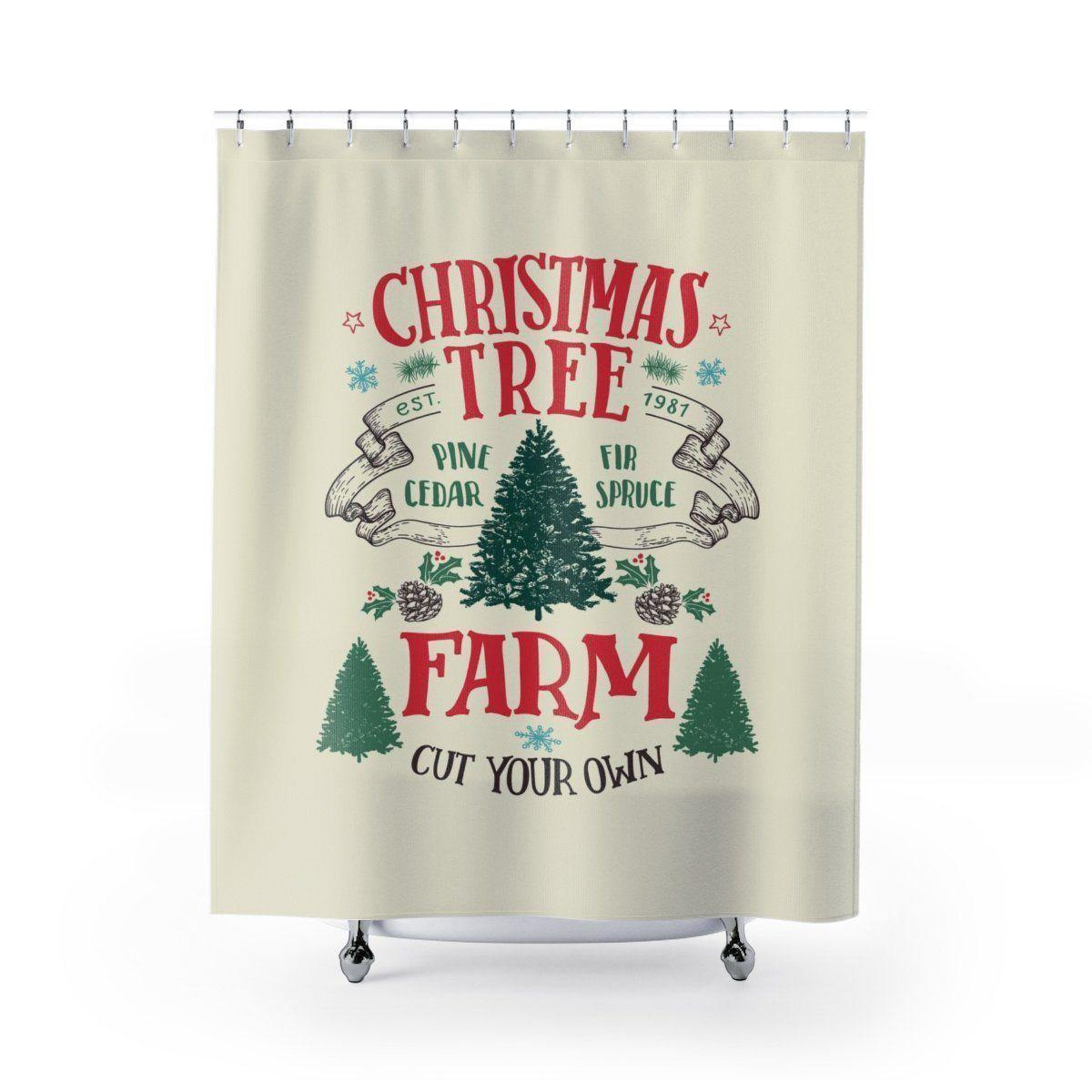 Christmas Tree Festive Shower Curtain-W.FRANCIS