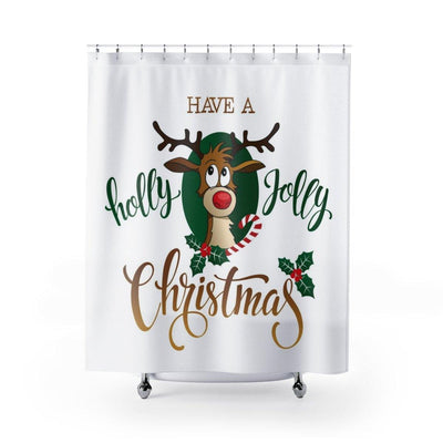 Christmas Shower Curtain - Holly Jolly Reindeer