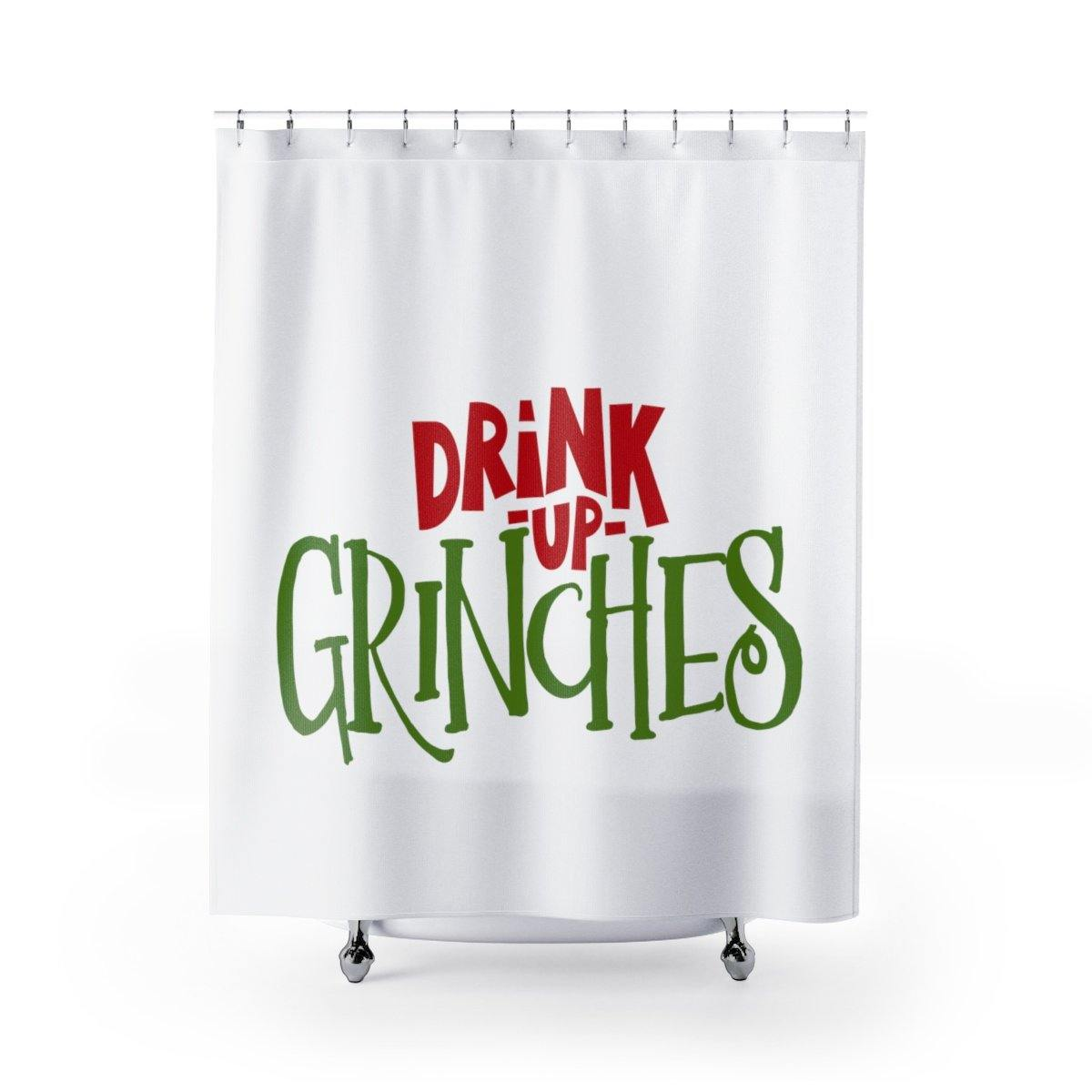Drink Up Grinches Christmas Shower Curtain
