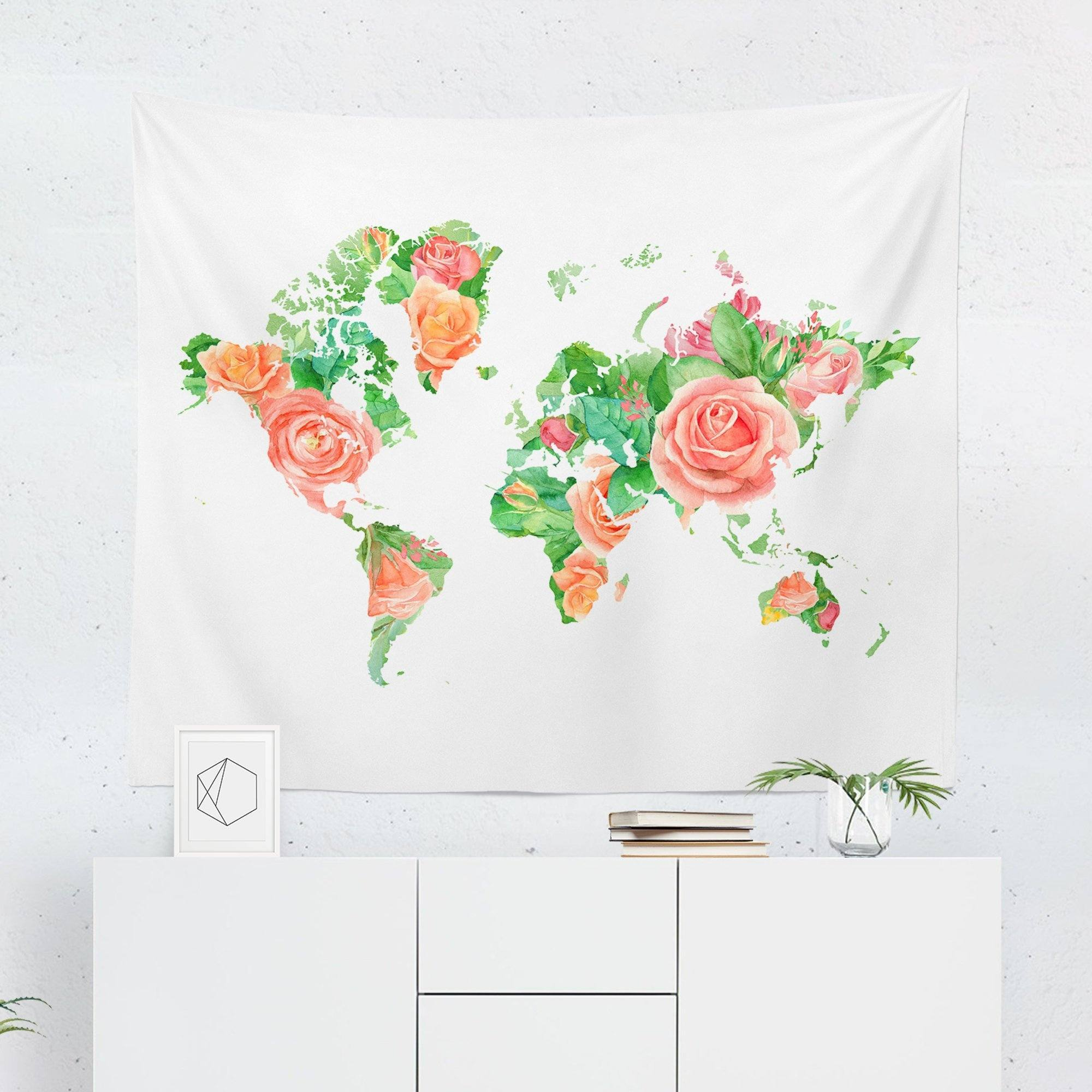 Floral Map Tapestry-W.FRANCIS