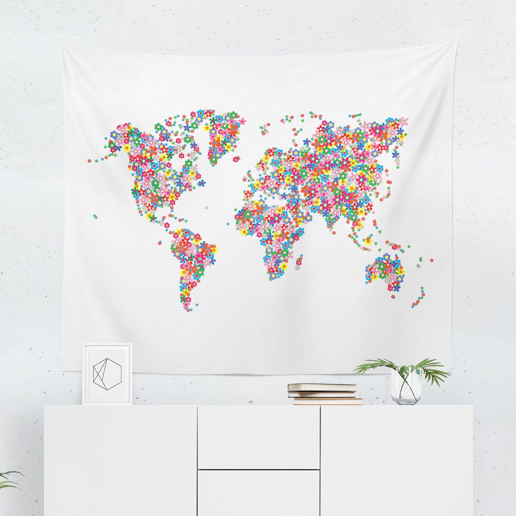 Floral World Map Tapestry-W.FRANCIS