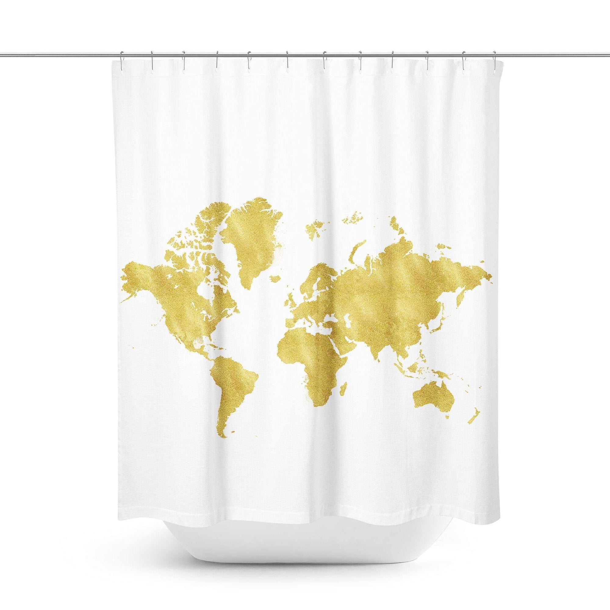 Gold Map Shower Curtain - Shower Curtains - W.FRANCIS