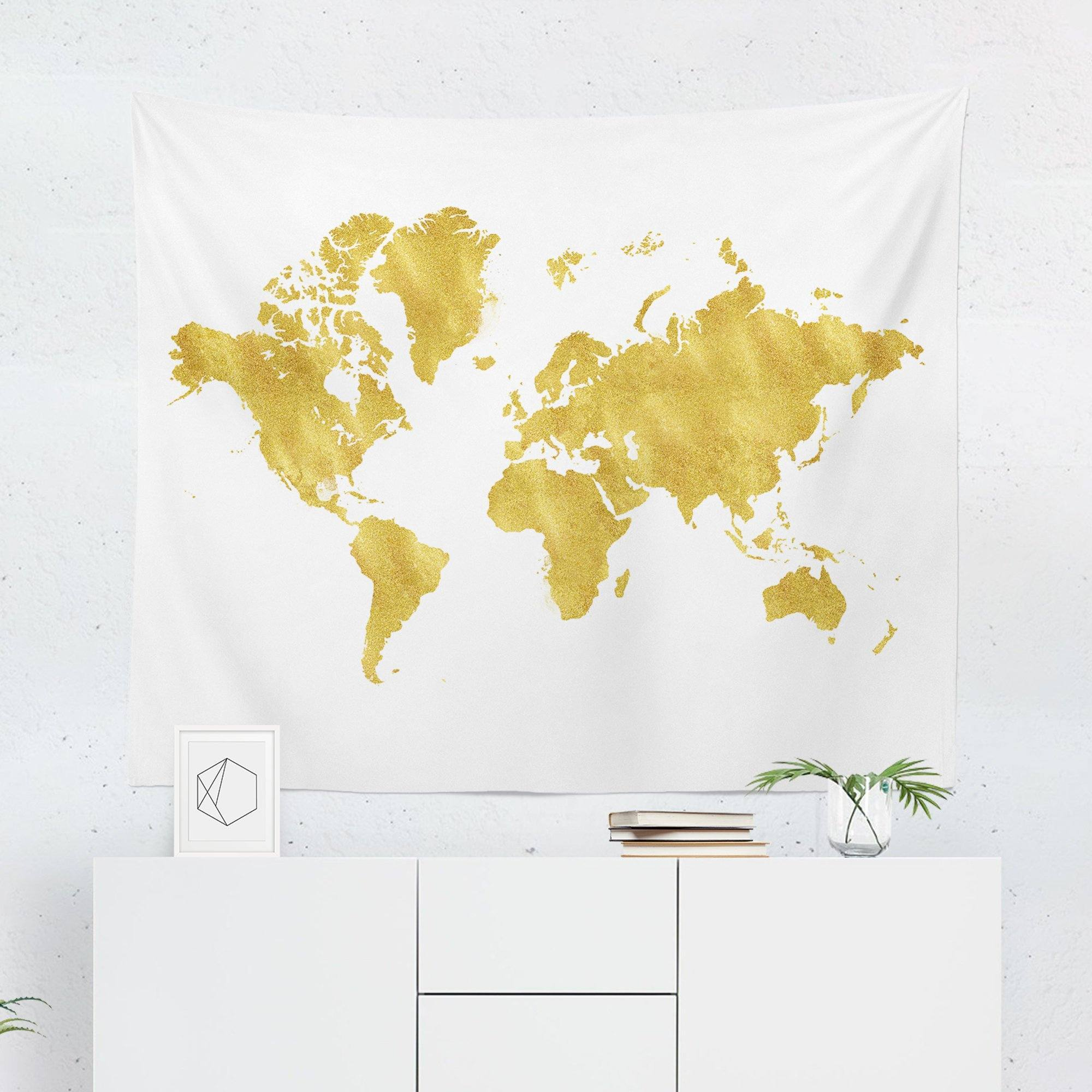 Gold Map Tapestry-W.FRANCIS