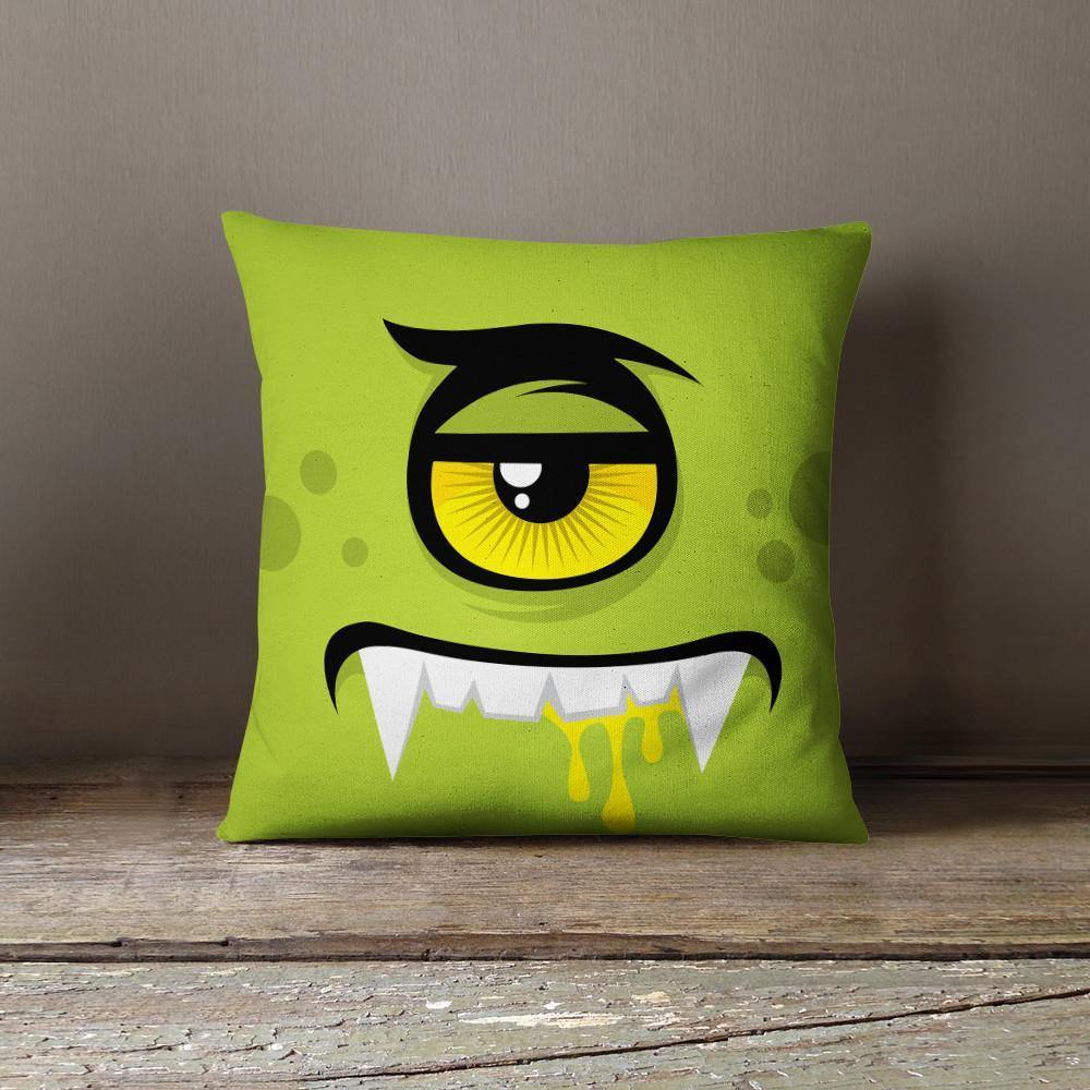 Green Monster Throw Pillow-W.FRANCIS