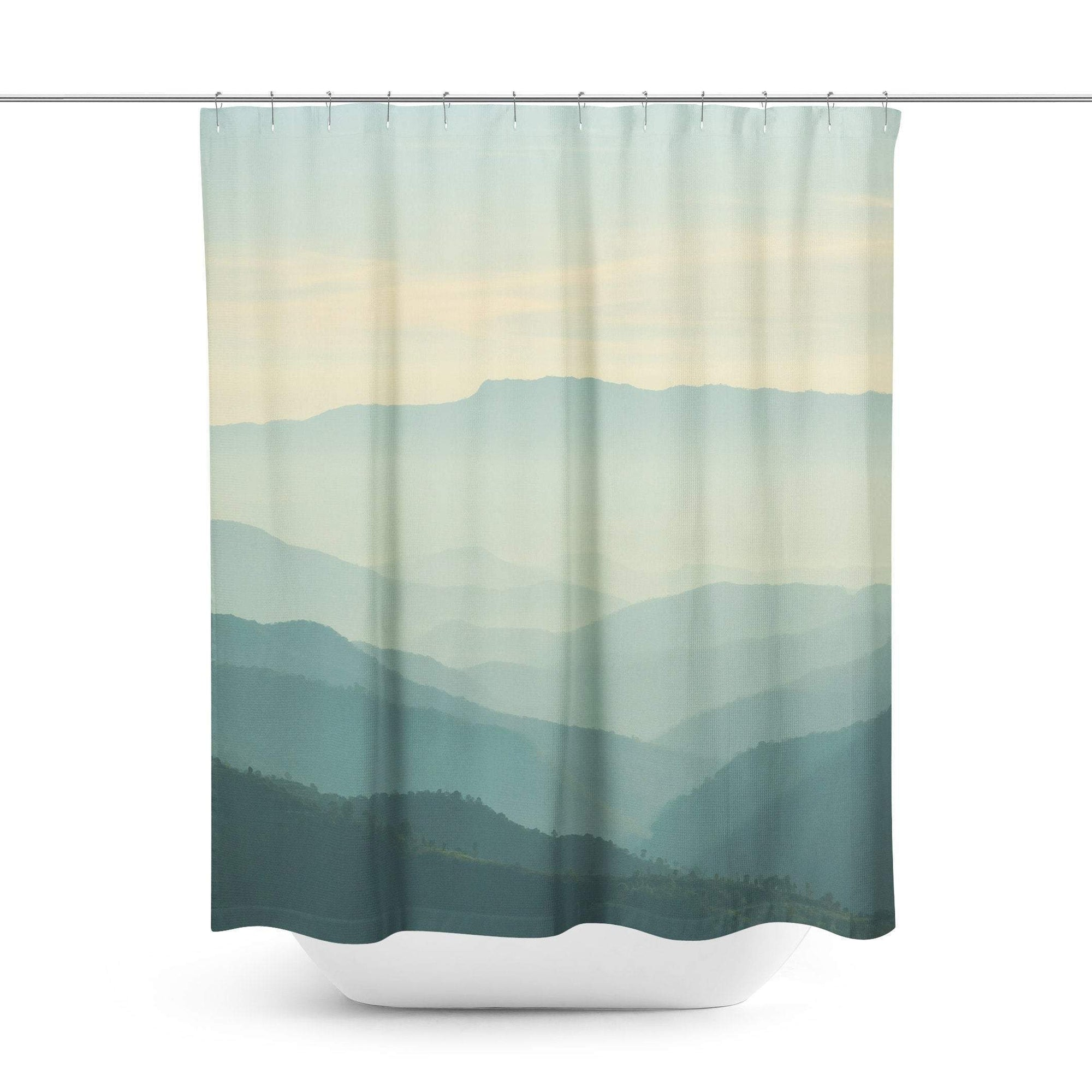 Green Mountain Scenic Shower Curtain-W.FRANCIS