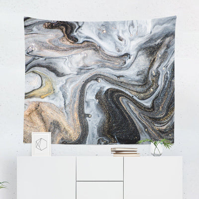 Grey & Gold Marble Tapestry-W.FRANCIS