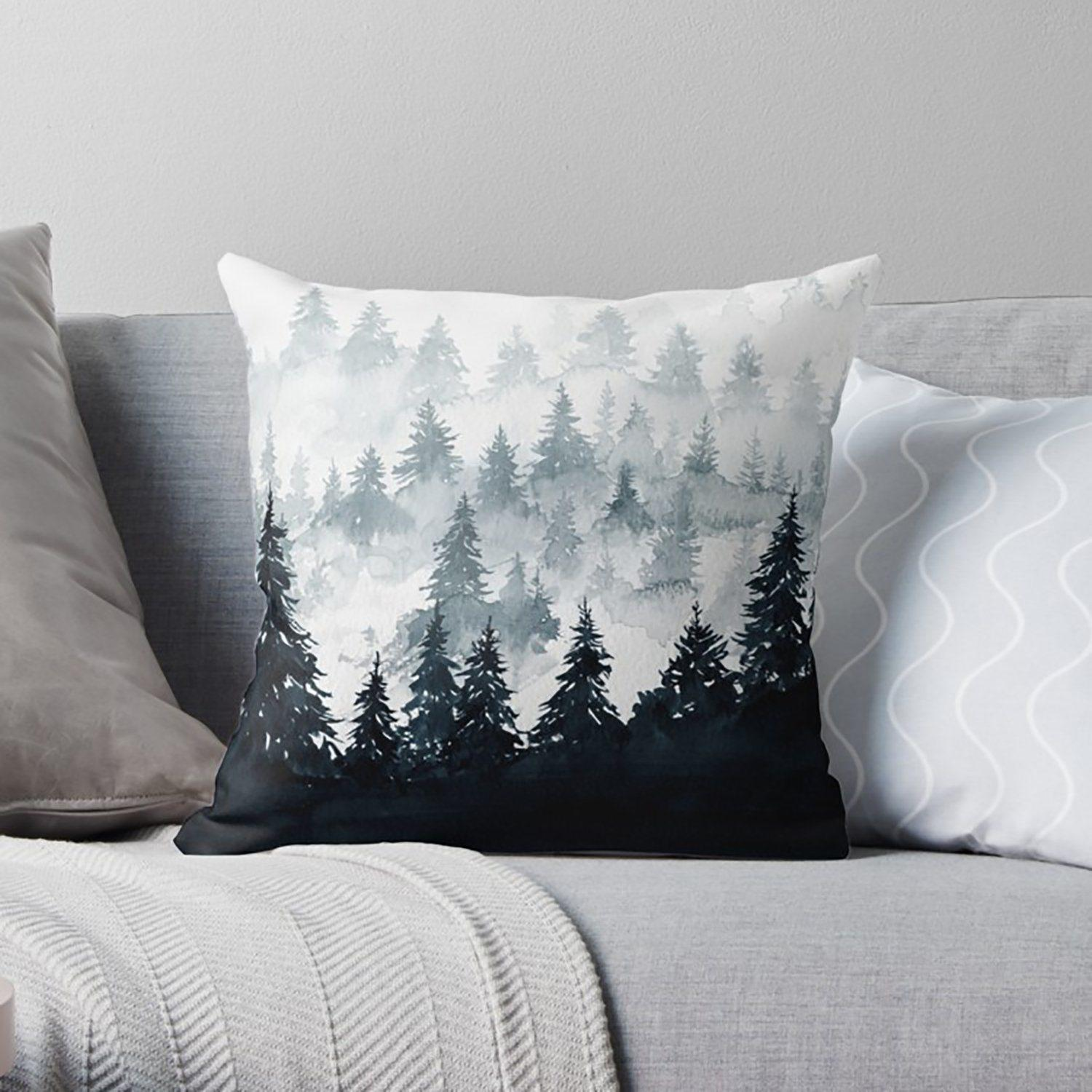 Grey Mountain Throw Pillow - Pillow Covers - W.FRANCIS