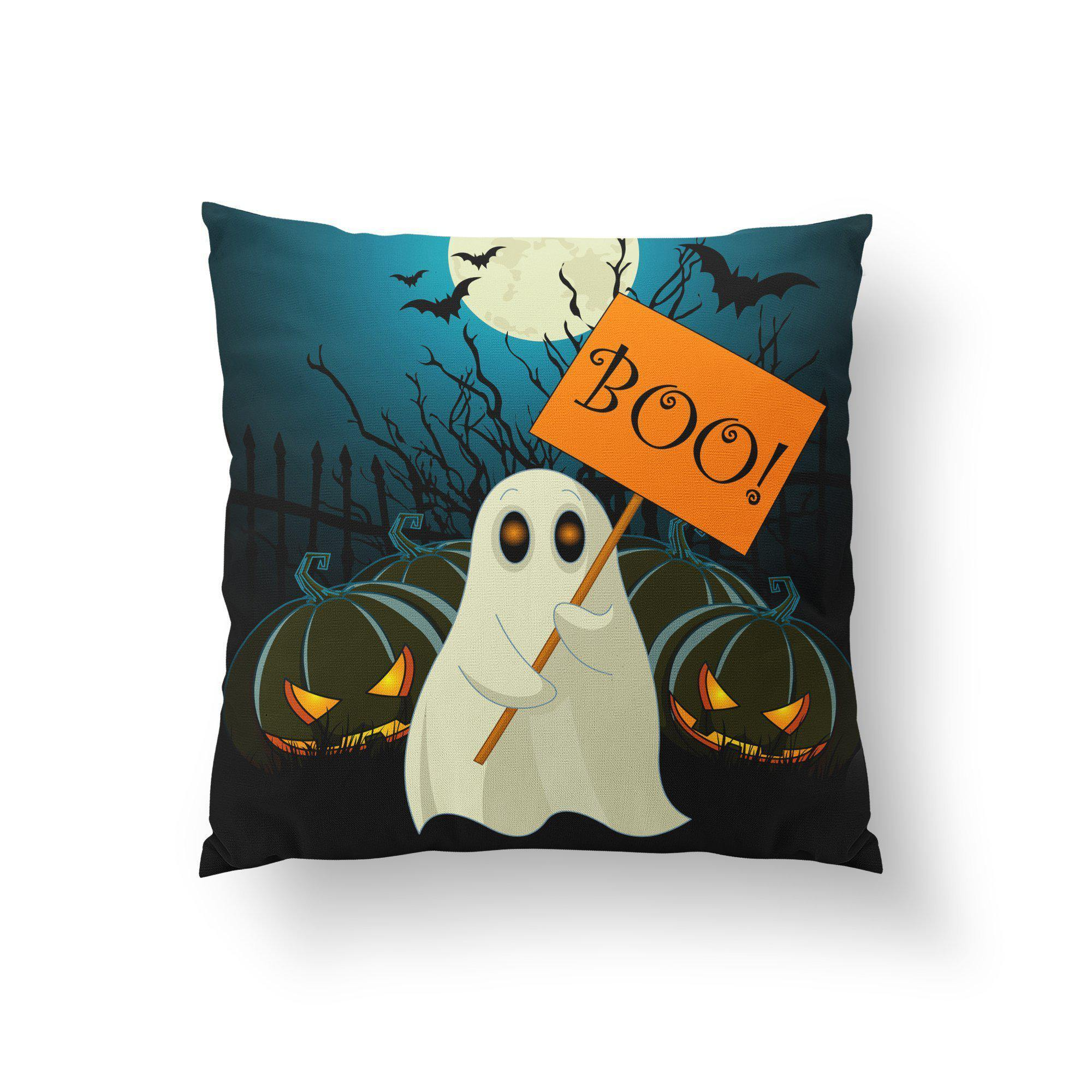 Halloween Ghost Throw Pillow-W.FRANCIS