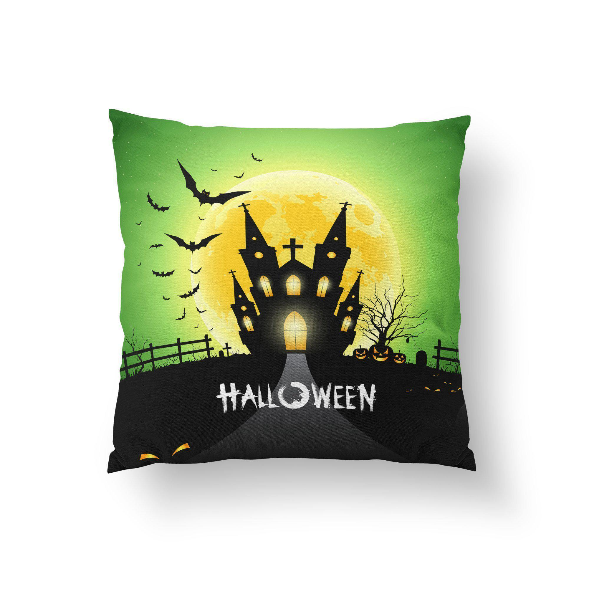 Haunted House Halloween Throw Pillow-W.FRANCIS