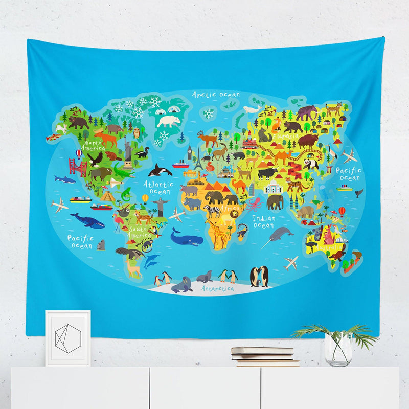 Kids World Map Tapestry