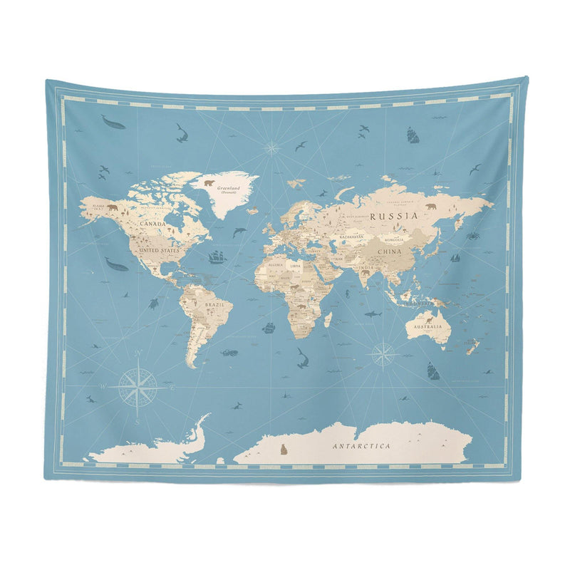 Map Tapestry World Map Tapestry Blue World Map Wall Tapestry Map Wall Tapestry World Map Wall Decor World Map Gift Blue World Map Wall Art