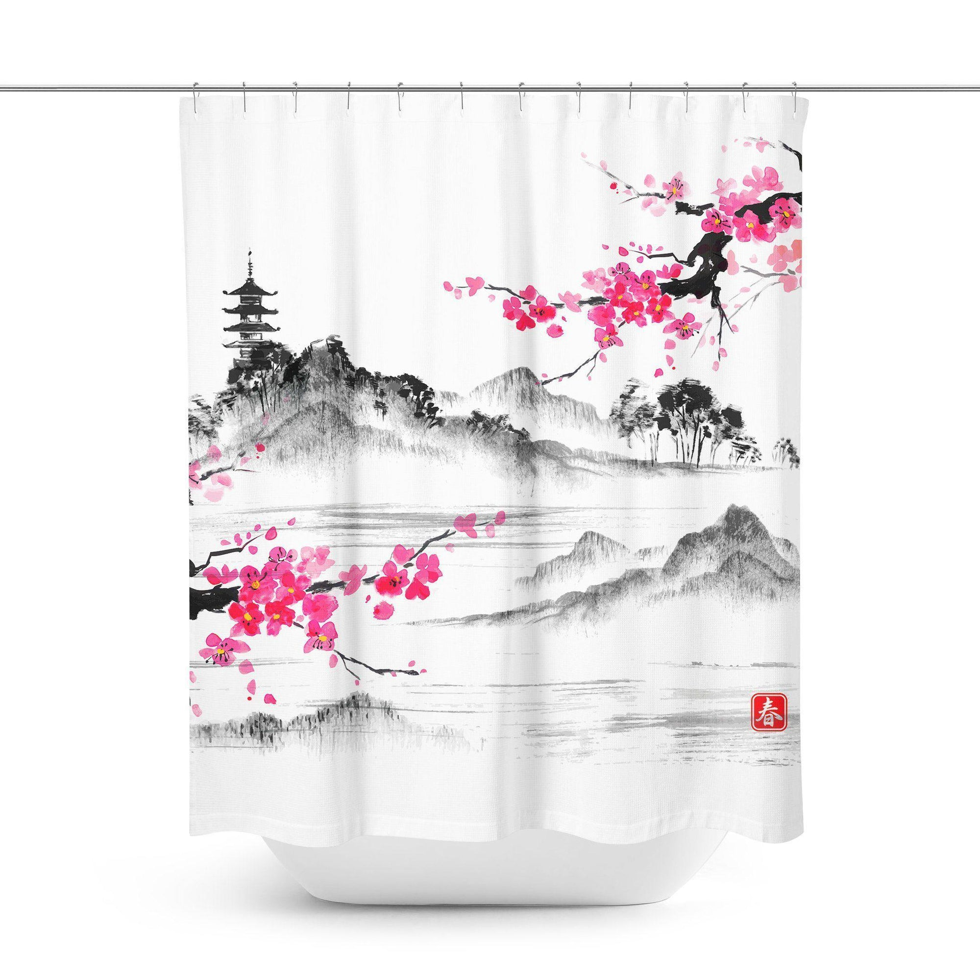 Japanese Landscape Shower Curtain - Shower Curtains - W.FRANCIS