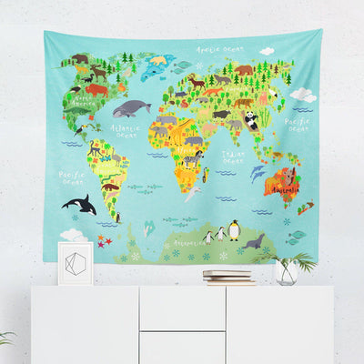 Kids World Map Tapestry-W.FRANCIS