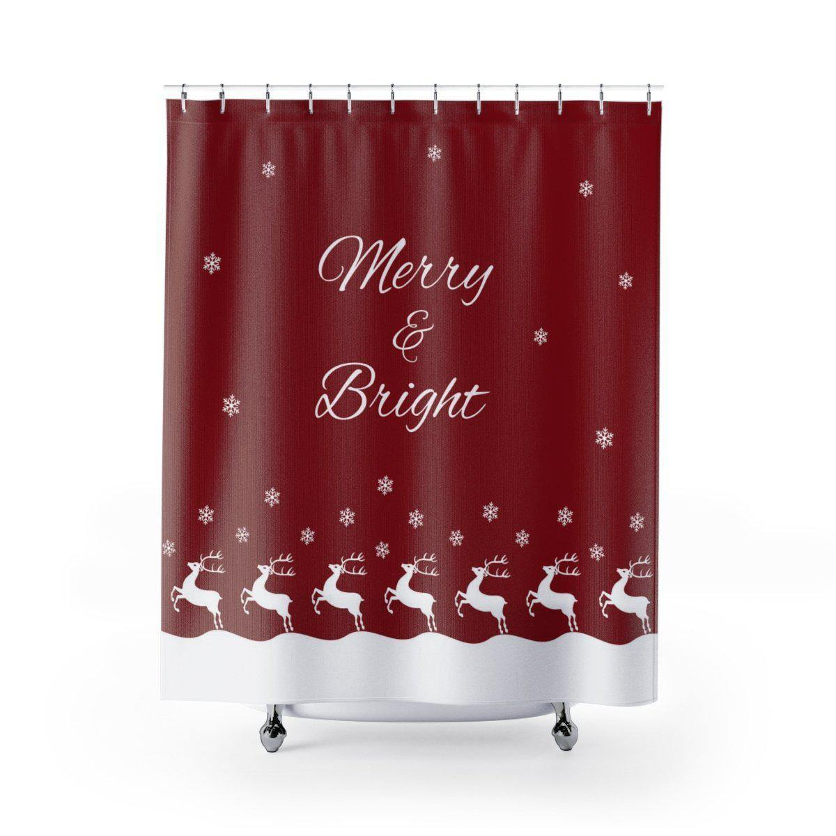 Merry & Bright Christmas Shower Curtain-W.FRANCIS