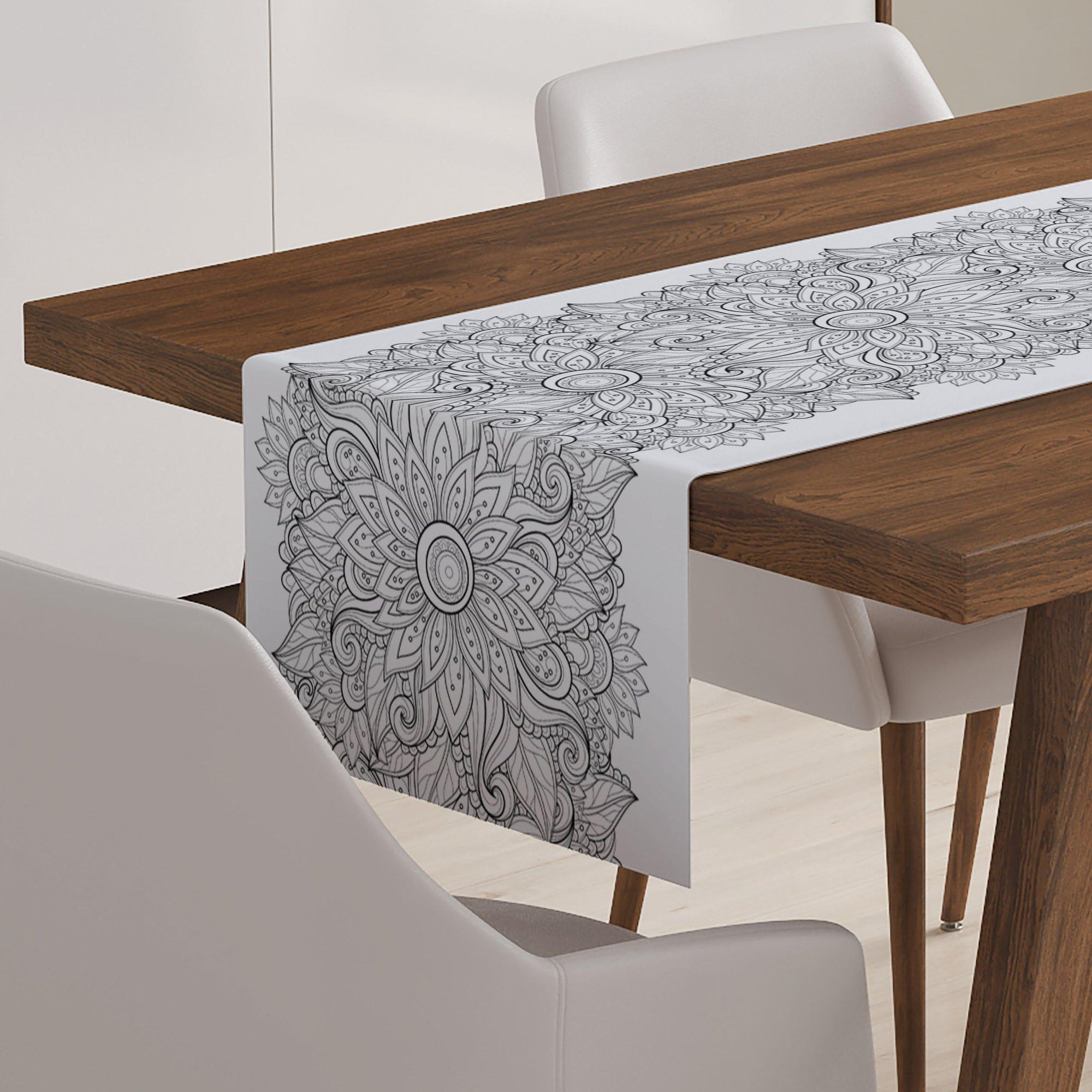 Modern Floral Black & White Table Runner - Table Runners - W.FRANCIS