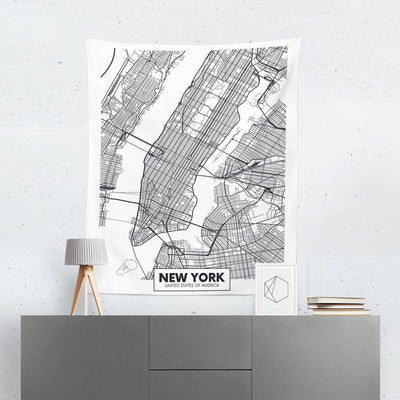 New York Map Wall Tapestry-W.FRANCIS