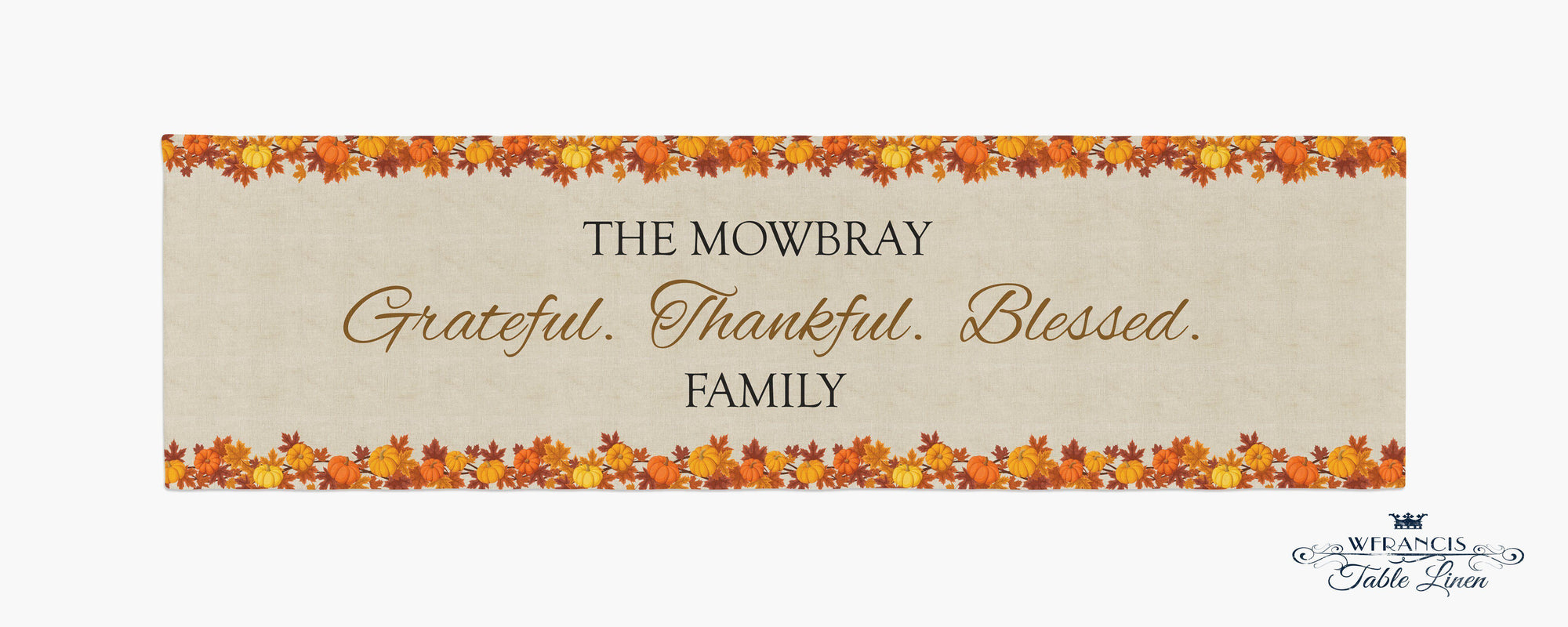 Personalized Thanksgiving Table Runner-W.FRANCIS