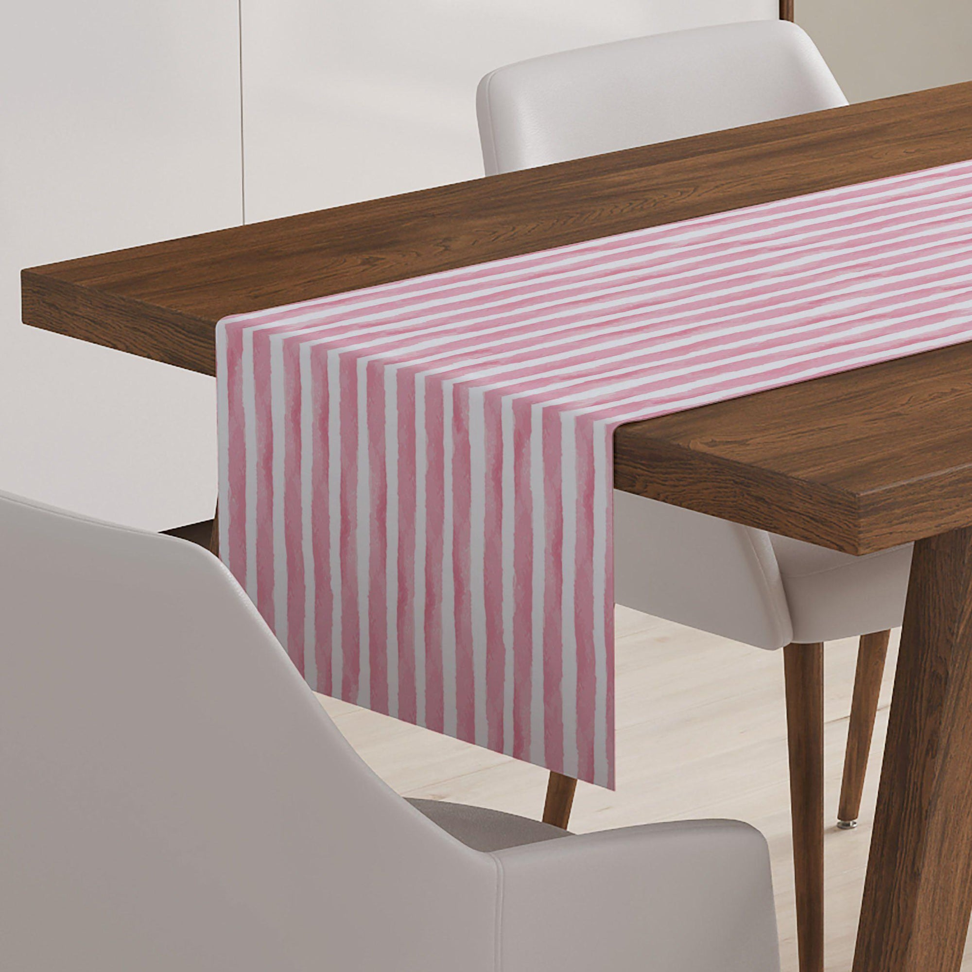 Pink and White Watercolor Table Runner-W.FRANCIS