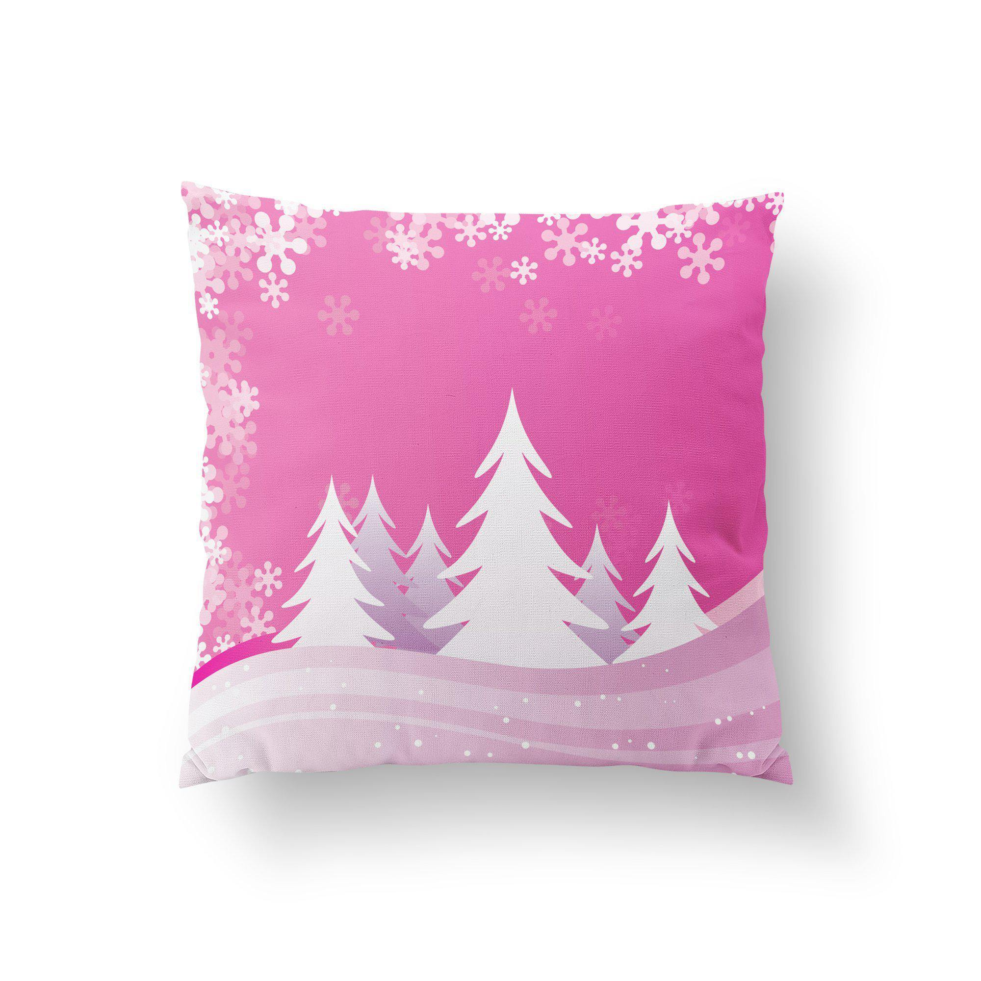 Pink Christmas Throw Pillow-W.FRANCIS