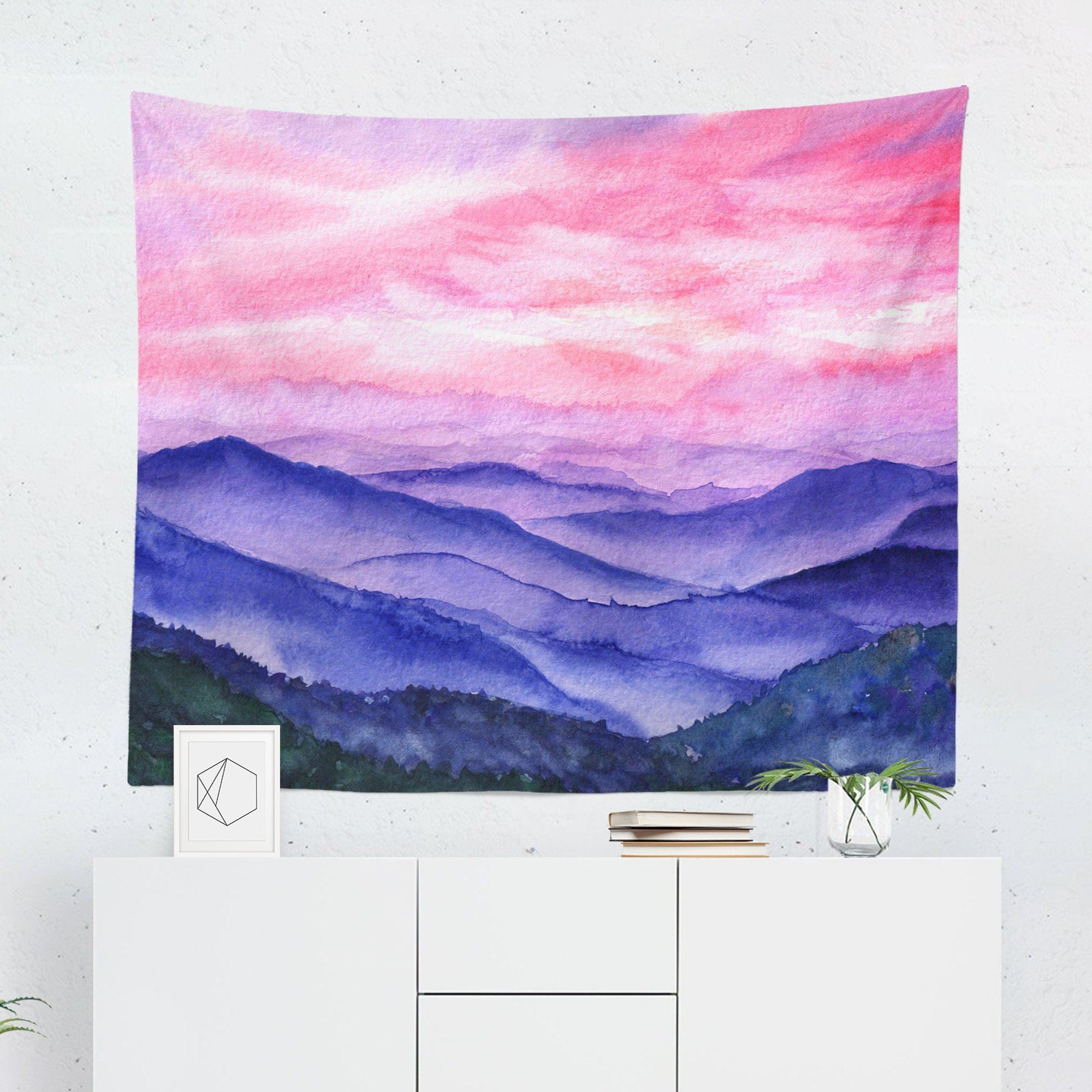 Pink Mountain Wall Tapestry-W.FRANCIS