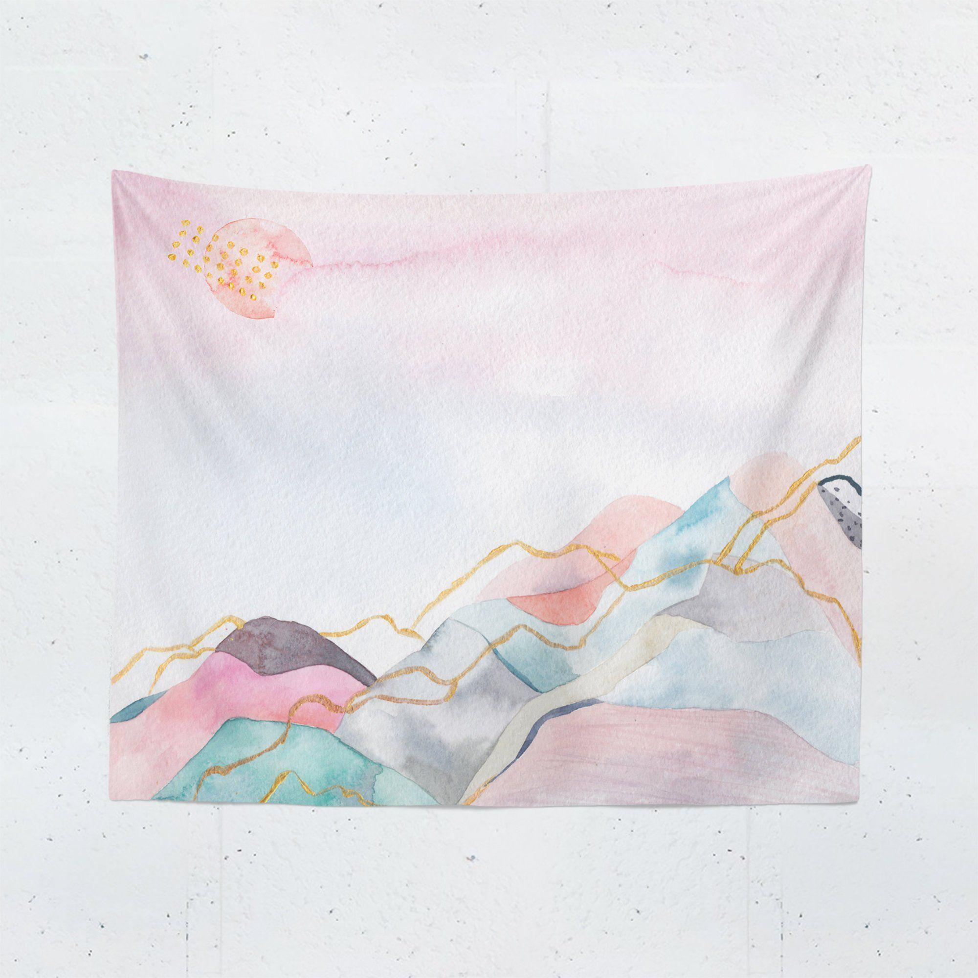 Pink Watercolor Mountain Tapestry - Tapestries - W.FRANCIS
