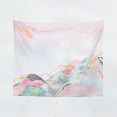 Pink Watercolor Mountain Tapestry-W.FRANCIS