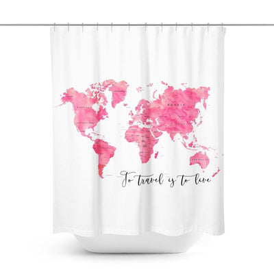 Pink World Map Shower Curtain-W.FRANCIS
