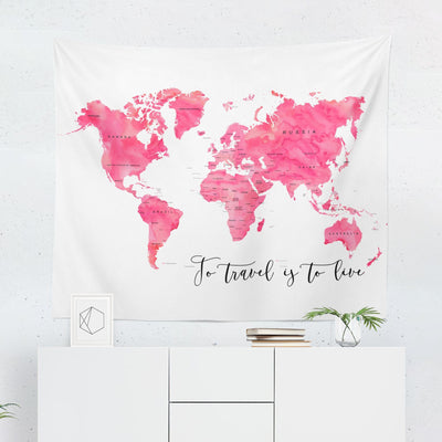 Pink World Map Tapestry-W.FRANCIS