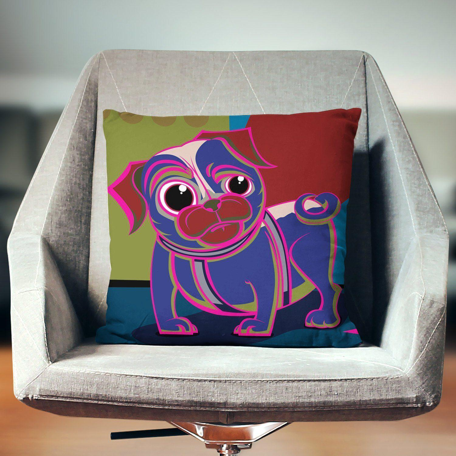 Pug Throw Pillow-W.FRANCIS