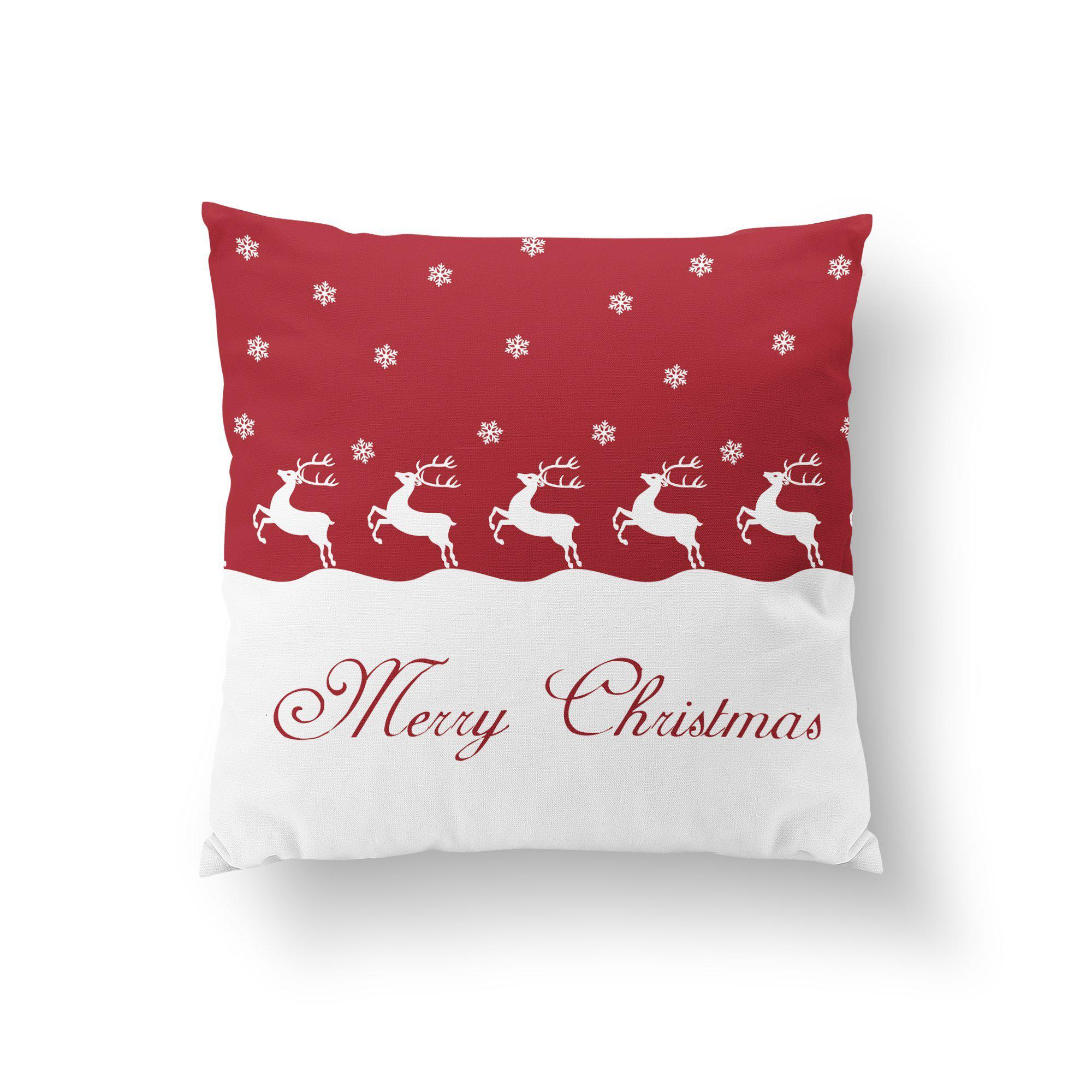 Red Merry Christmas Throw Pillow-W.FRANCIS