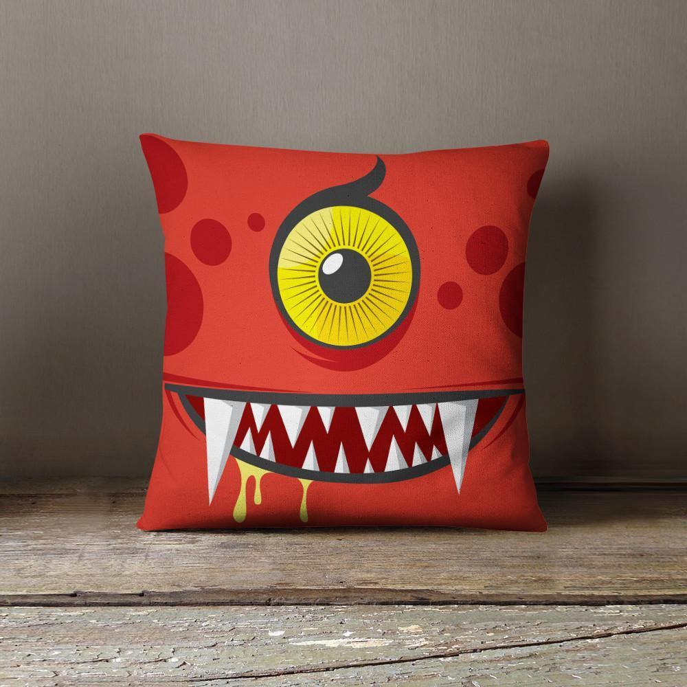 Red Monster Throw Pillow-W.FRANCIS