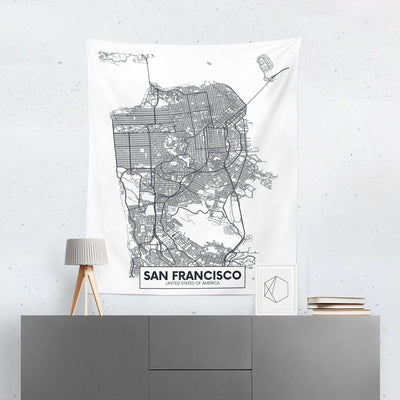 San Francisco Map Wall Tapestry-W.FRANCIS