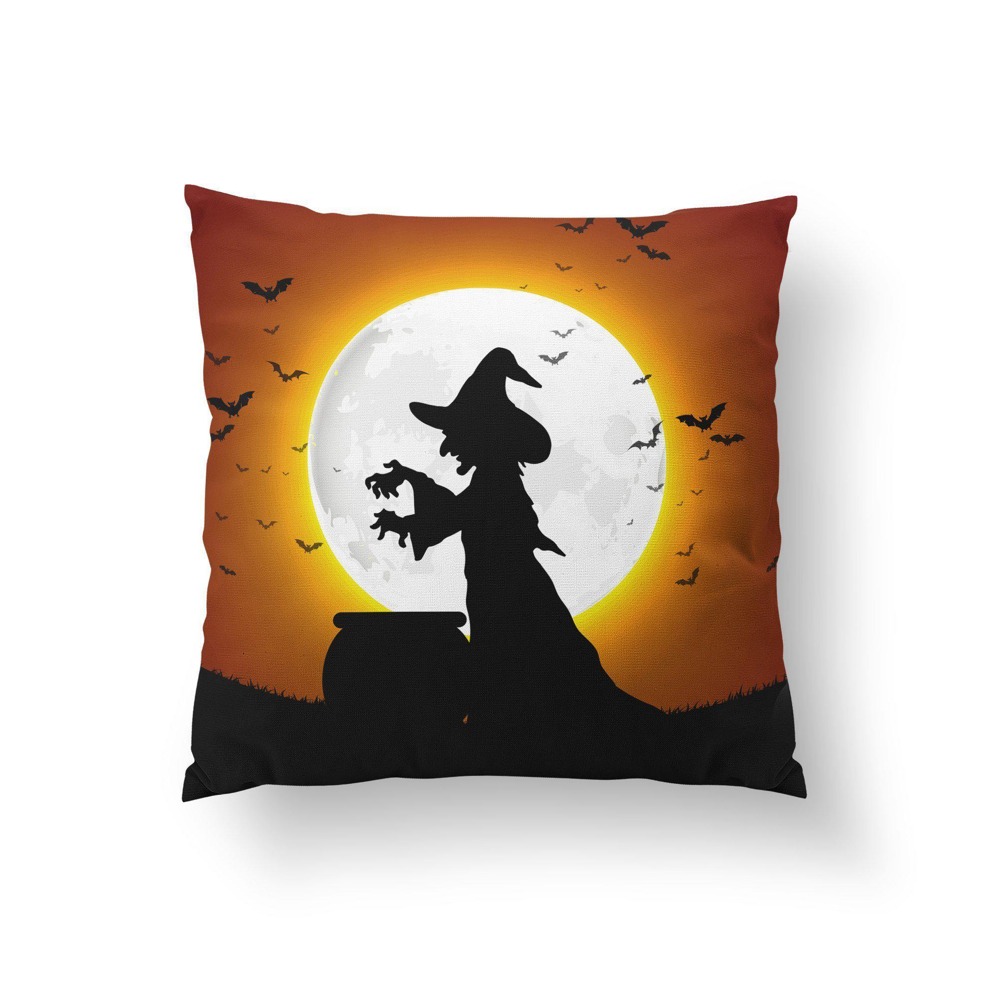 Scary Witch Halloween Throw Pillow - Pillow Covers - W.FRANCIS