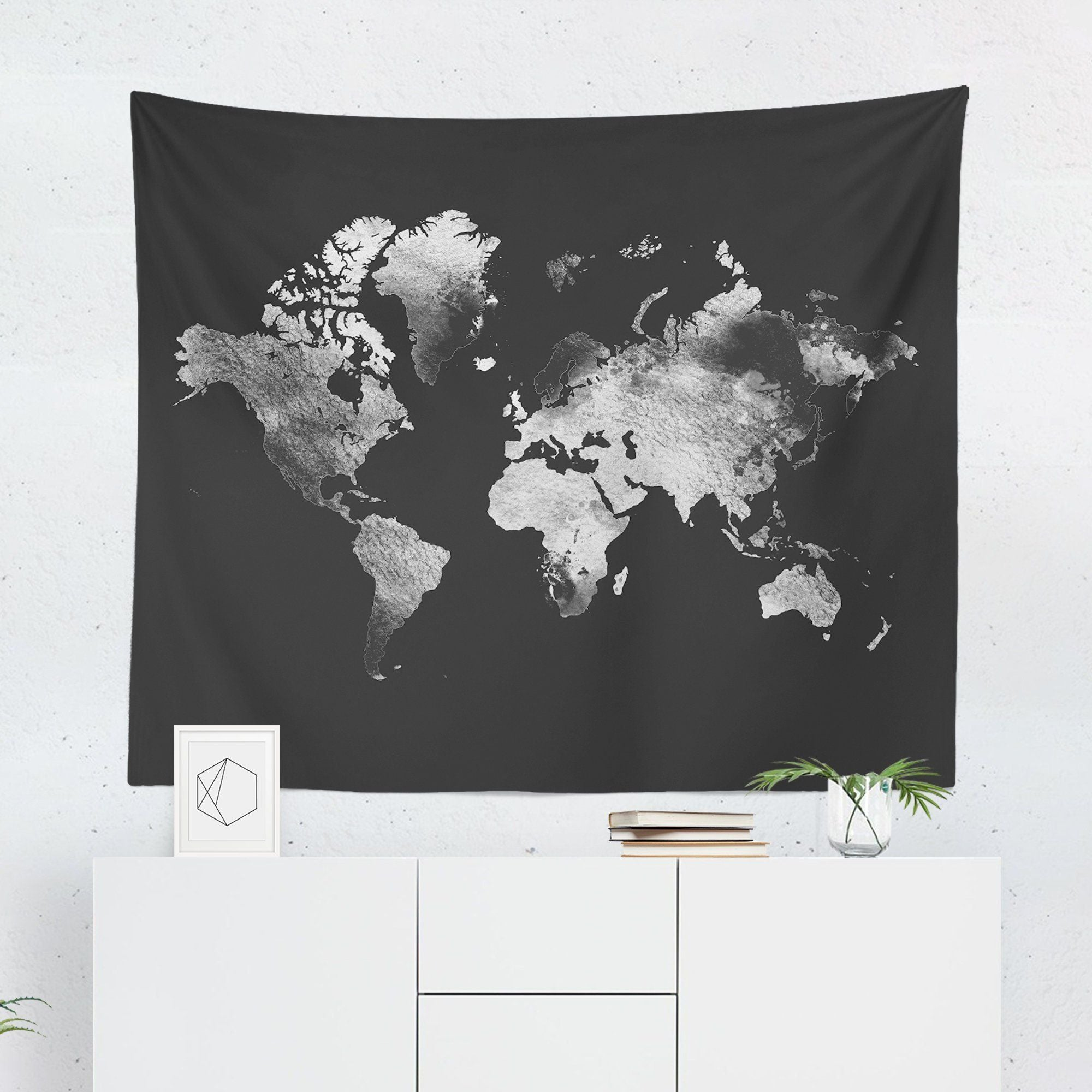 Silver World Map Tapestry-W.FRANCIS