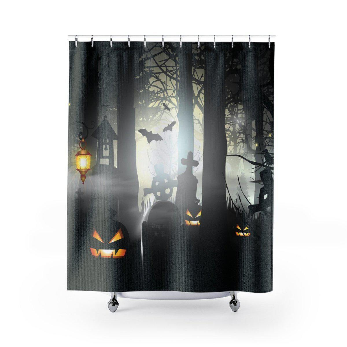 Spooky Cemetery Halloween Shower Curtain-W.FRANCIS