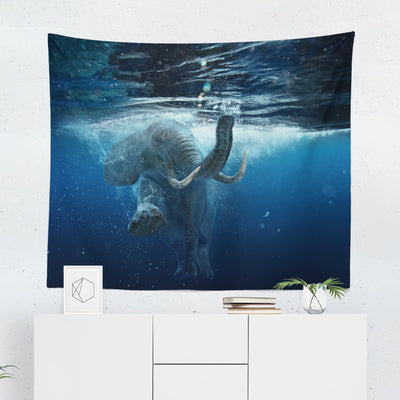 Swimming Elephant Tapestry-W.FRANCIS